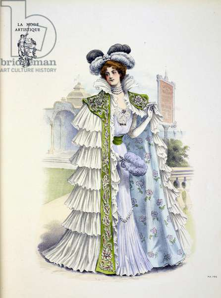 "Design by Doucet for Carolina ""La Belle"" Otero, a Spanish born dancer, actress and courtesan. The dress is composed of fine white muslin worn over mauve silk. There is a deep flounce pleated to the skirt and the bodice is trimmed with some rare old lace; the sash is of céladon green ribbon. ... the large circular opera mantle ... composed of white taffetas it is entirely covered with frothy flounces of white mousseline de soie: an embroidered and jewelled stole of green velvet, spreads over her shoulders. The collar is of flounced silk muslin which also forms jabots at the edges of the stole. The headgear is compsoed of black and white ostrich feathers fastened by a jewelled clasp."