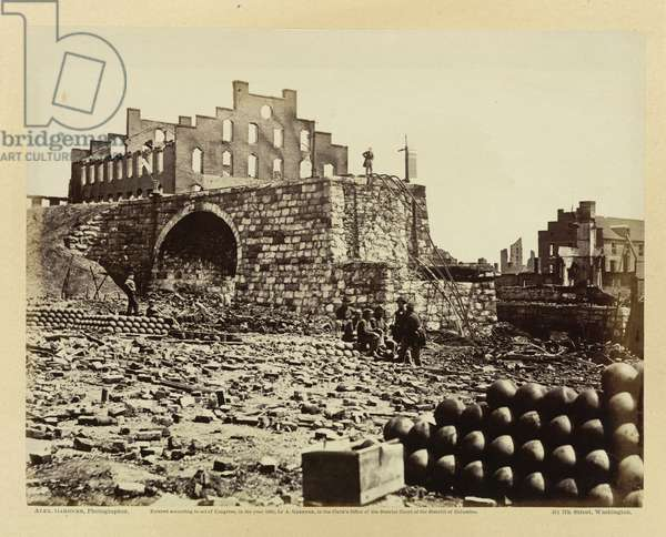 Ruins of an Arsenal at Richmond, Virginia, April 1865, from 'G.'s Photographic sketchbook of the War' published Washington, 1865 (b/w photo)