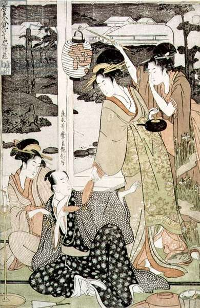An artist surrounded by geishas at a tea party in the Yoshiwara, (colour woodblock print)