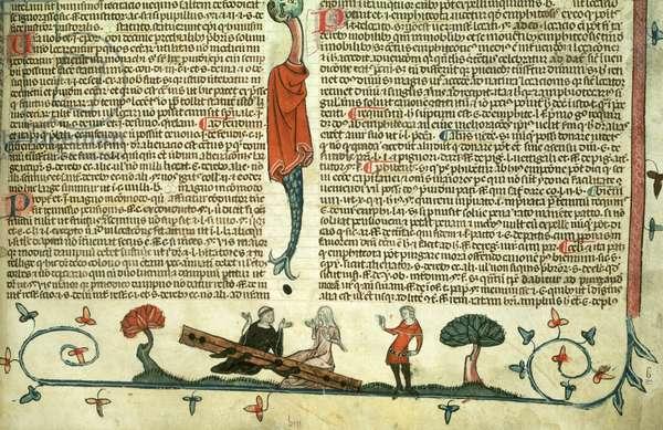 Roy 10 E IV f.187 A nun and a monk in stocks, from the Smithfield Decretals, c.1340 (vellum)