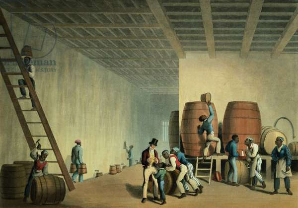 Inside the Distillery, Antigua, 1823 (print)