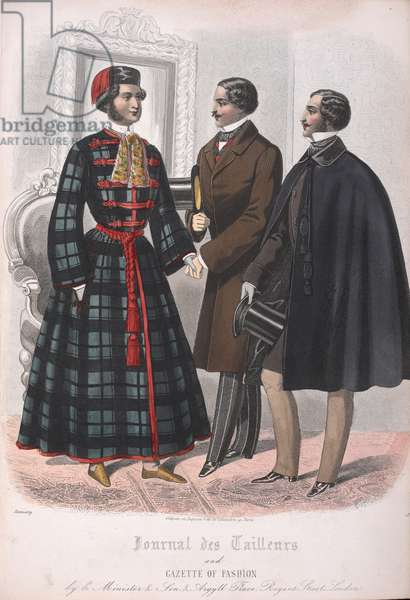 Three men, one wearing a court dress as worn at receptions at the Tuilleries, Paris.
