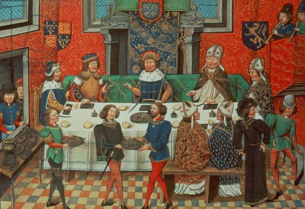 Roy 14 E IV f.244v Duke of Lancaster dines with the King of Portugal, from Vol. III `From the Coronation of Richard II to 1387', by Jean de Batard Wavrin