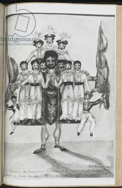 Image of Giovanni Belzoni's strongman act, 1907 (w/c on paper)