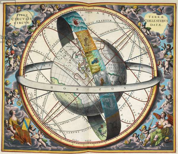 Planisphere with astrological signs of the zodiac.