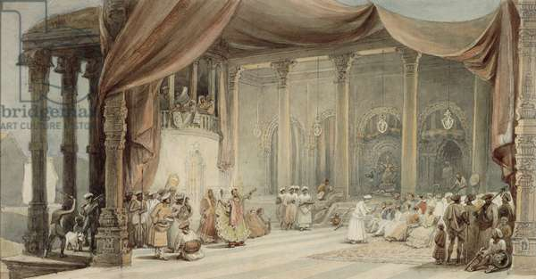Europeans being entertained by dancers and musicians in a splendid Indian house in Calcutta during Durga puja, 1840