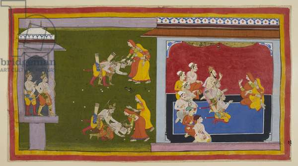 Add 15296 (1) f.90r, The princes go off to meet their other mothers in their zenana, but Kausalya and Sumitra, dressed in mourning saris of red and yellow, having heard of their return, have already set off to meet them. Kausalya reproaches Bharata for having cheated Rama out of his kingdom, but having assured her of his innocence in the matter and having bitterly cursed the person responsible for Rama's exile, he falls fainting at Kausalya's feet. She accepts his assurances. In the morning, in a pavilion where the two queens, two princes and various ministers are seated, Vasistha advises Bharata to cease his lamentations and begin his father's funeral rites.