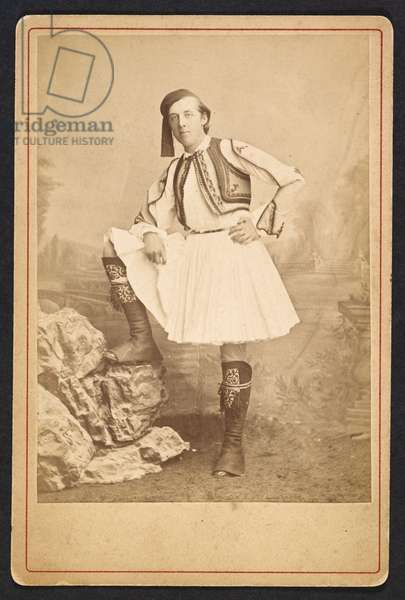 Add MS 81783 A, Cabinet photograph of Oscar Wilde in costume when in Greece, 1877-78 (sepia photo)
