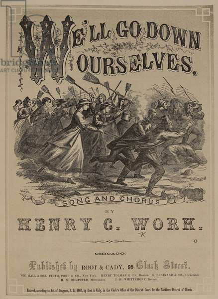 Music cover depicting woman carrying bromsticks charging into battle. An American civil war feminist anthem.