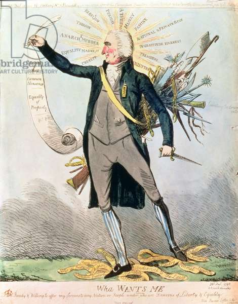 'Wha Wants Me', cartoon showing Tom Paine and the Rights of Man by Isaac Cruikshank (1756-1811/16)