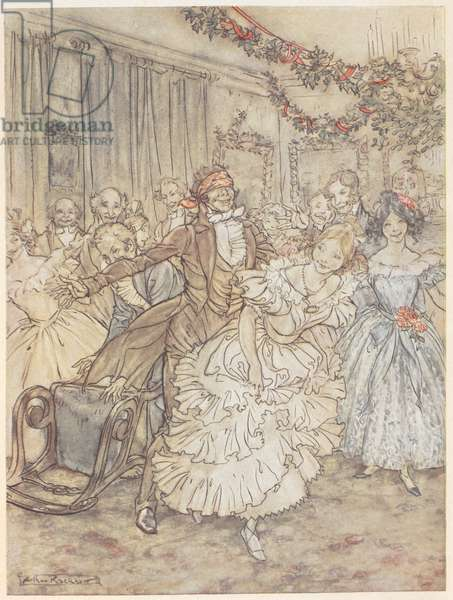 A party playing blind man's bluff. A man wearing a blind-fold chases a woman in a frilly dress