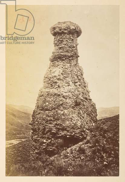 Views on the Pacific Railway [a conical rock formation], 1870s (b/w photo)