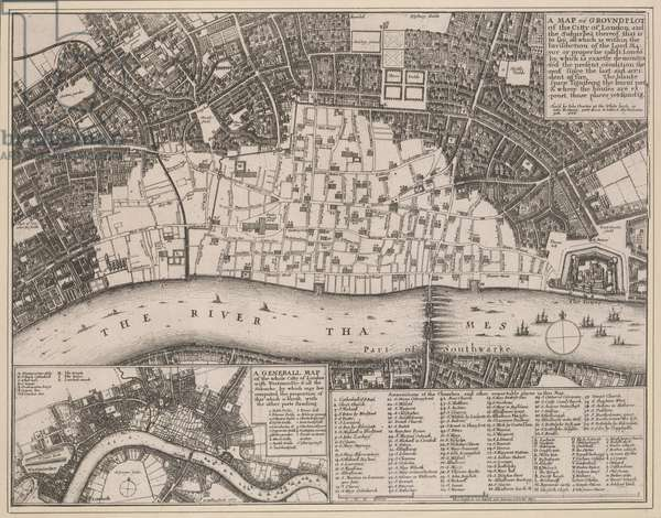 An engraved map of London with the title in a square tablet at top right and a reference table with key to churches and other landmarks at bottom right. The map clearly shows the extent of the damage to the city caused by the great fire of 1666: the barren city wards in contrast with bird's eye views of surviving buildings just outside the city. Also by Hollar is the inset map at bottom left entitled A General Map of the Whole Citty of London, Westminster and all the Suburbs. Smaller in scale but more extensive in coverage, the inset map shows at a glance the extent of the damage caused by the fire