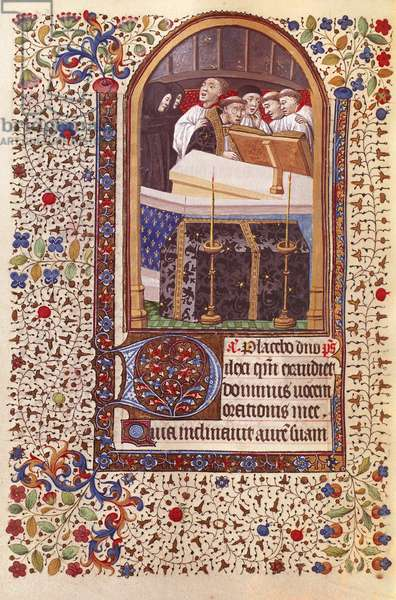 Harley 2971, fol.109v, Monks singing a requiem, from a Book of Hours (vellum)