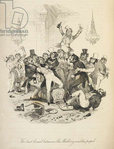 Illustration with the title 'The last brawl between Sir Mulberry and his pupil'. A large crowd of people invoved in a fight.
