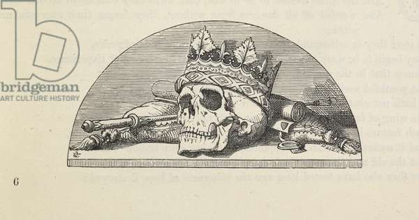 A skull wearing a crown, from 'Proverbial Philosophy in four series; now first complete, etc.', 1881 (engraving)