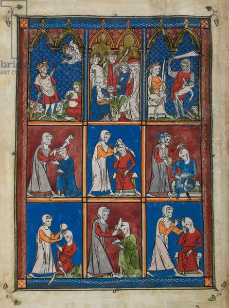 Sloane 1977,f.2v  Nine miniatures showing biblical and medical scenes. Above, the angel appearing to the shepherds, Epiphany and the Massacre of the Innocents. Centre and below, surgeons operating on patients' skulls