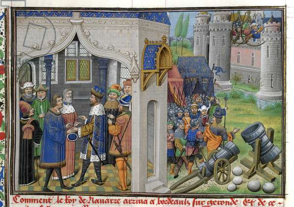 Siege of Pampeluna, from 'Chronique d'Angleterre (Volume III)' (w/c on paper)