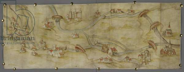 Cotton MS Augustus I i 65 Map of the River Trent and its tributaries between Nottingham and Newark, c.1540 (pen & ink with w/c on paper)