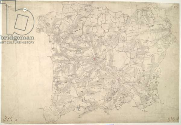 Stow Market. This is a plan of the Gipping Valley in Suffolk. The circular hole in the top left-hand margin indicates that an 'Ordnance Office Copy' blind stamp has been removed from the manuscript. The die has cut through the paper causing the stamp to fall out. Pencil rays intersect across the map, evidence of measurements taken by the surveyor between fixed triangulation points