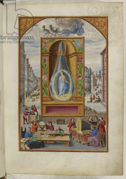 Ms Harley 3469, f.27 A queen in a flask, the Fourth Treatise, from 'Splendor Solis' by Salomon Trismosin, 1582 (vellum)