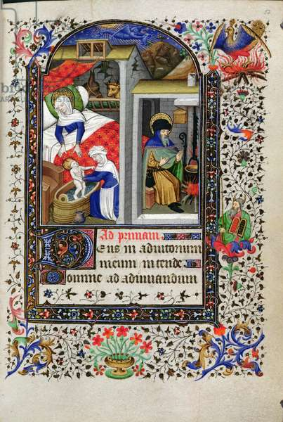 Add 18192 f.52 Nativity, from a Book of Hours, Paris, c.1435