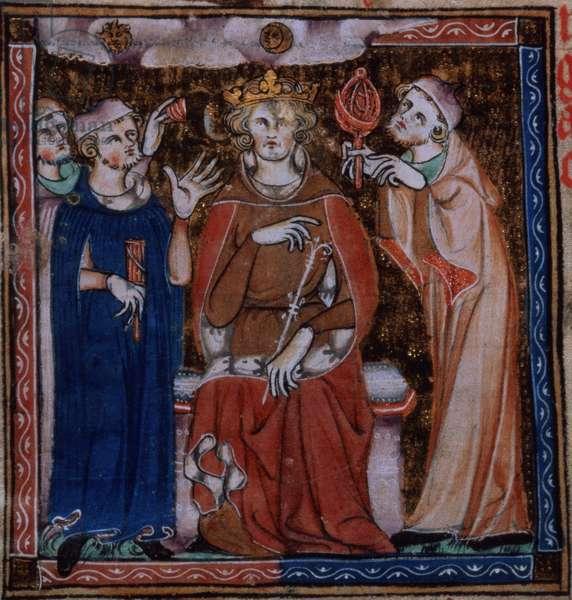 Add 47680 f.53v King consulting astrologers about health, from 'De Secretis Secretorum, (c.1327)' (vellum)