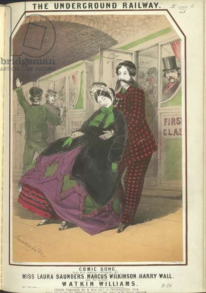 'The underground railway - a comic song'. A man holding a woman who has feinted, into a train.