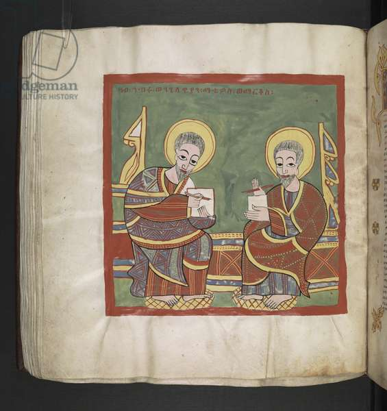 Or. 481, f.111v St. Mathew and Mark, writing their Gospels.Octateuch, Gospels and Ecclesiastical works.An Ethiopian manuscript.Late 17th century.