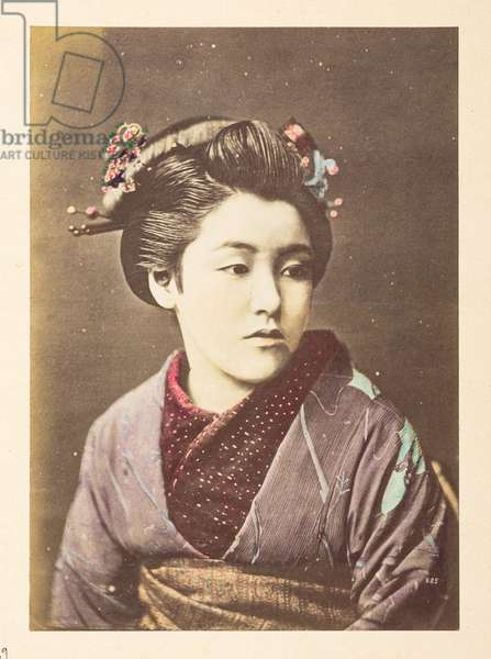 Japanese woman in traditional dress,  Half-length portrait of a young woman, looking to the right,  Photographer: Unknown Lucas Collection: Photographic record of the world tour of Charles James and Morton P,  Lucas, 1877-79, Dimensions: 138 mm x 98 mm