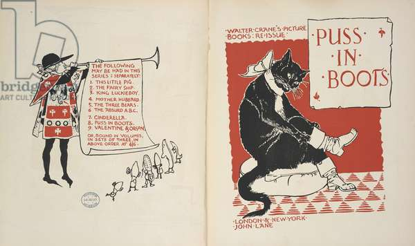 List of contents and Title page to 'Puss in Boots'.