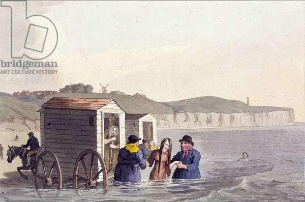 """Representation de la cabine de bain inventee en 1750 par Beanjamine Beale : les femmes a l'interieur accedent directement a la mer en sortant de ce """"""""wagon"""""""" tiree par des chevaux. Scarborough. Dessin tiree de """"""""The costume of Yorkshire"""""""" par George of Seacroft Walker 1791 The British Library Institution Reference: Shelfmark ID: 143.g.1. Folio No. Pl. XVII. Opp.45 The Bathing Wagon : Women sea bathing at Scarborough invented by Benjamine Beale in Margate, 1791. Horse driven changing closets. The costume of Yorkshire by George of Seacroft Walker ©The British Library Board/Leemage"""