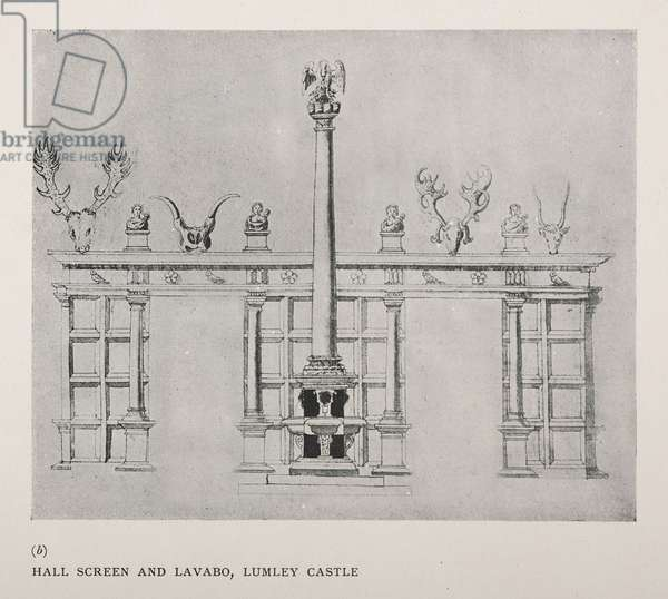 The Great Hall, Lumley Castle: screens and lavabo with a Pelican in Piety; 4 heads of Roman emperors, from The Lumley Inventory, 1590 - Plate VIII (bottom)