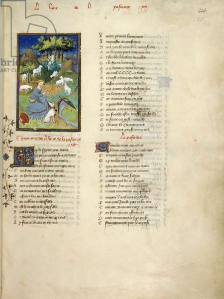 Harley 4431, fol.221 Shepherdess watches her flock, from Le Dit de la Pastoure, from 'Collected Works of Christine de Pisan' 1410-11 (vellum)