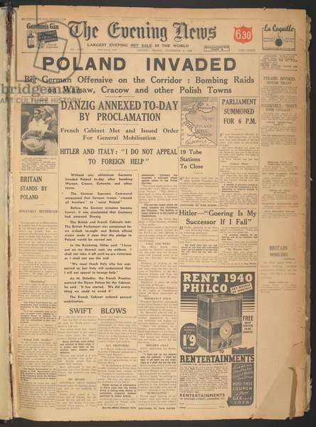 Poland Invaded, Front page of 'The Evening News', 1st September 1939 (newsprint)