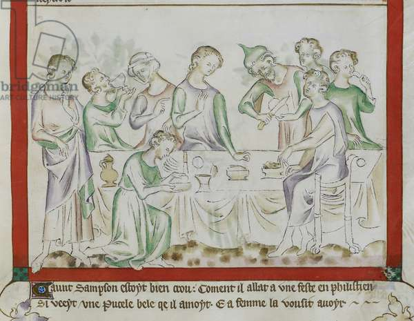 MS Royal 2 BVII, f.43 Meeting of Samson and Delilah at a Philistine Feast, detail from 'The Queen Mary Psalter', 1310-20 (ink & colour on vellum)