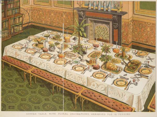 Supper Table with Floral Decorations, Arranged for 16 Persons, from 'Beeton's Book of Household Management', edited by Mrs Isabella Beeton, 1892 (colour litho)