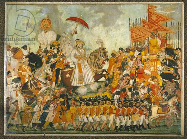 Procession of Raja of Tanjore, c.1820 (Opaque watercolour on linen)