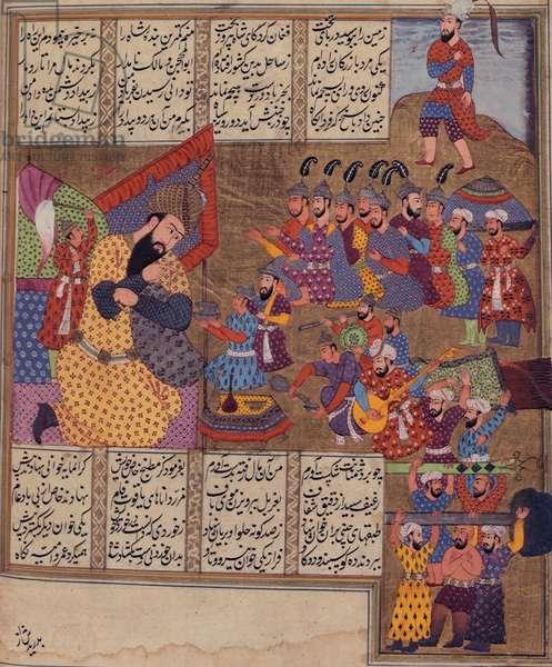 Add 19766 fol.289v The Giant Salsal, from the 'Khavarnama' 1686 (vellum)