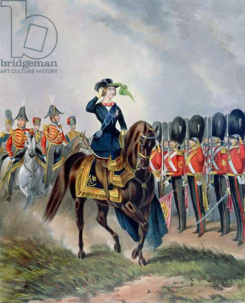 Her Majesty Reviewing the First or Grenadier Regiment Foot Guards, painted by H. de Daubrava (fl.1842-61), engraved by J. Harris, pub. Ackermann, 1851