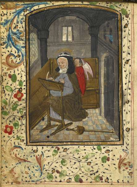 Full-page miniature of Bridget writing while an angel whispers in her ear at the beginning of the Fifteen Oes of St Bridget. Full border with floral decoration.
