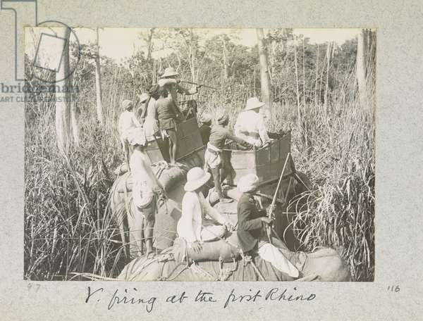 Firing at the First Rhino, 'Curzon Collection: Album of snapshots, principally relating to Lord Curzon's time as Viceroy of India', April 1900 (b/w photo)