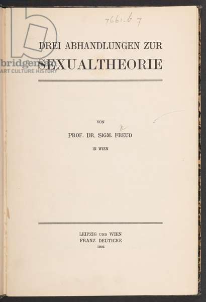 Title page from the first edition of Three Essays on the Theory of Sexuality by Sigmund Freud, 1905 (litho)
