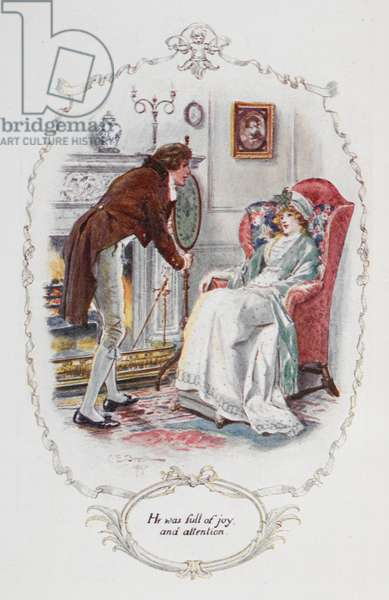 """He was full of joy and attention"""", illustration to 'Pride and Prejudice' by Jane Austen, 1907 (colour litho)"""