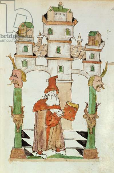 Ms Add 15697 fol.44 The Arabic astrologer Albumasar, from a compilation written by Jacobus Scracz de Indagine, 1443-44 (vellum)