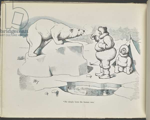"""""""He simply loves the human race."""" A polar bear looking at two people."""