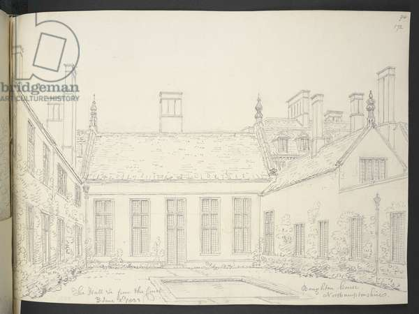 Add MS 36371 The Hall from the Court, Boughton House, Northamptonshire, June 2nd 1832 (pencil on paper)