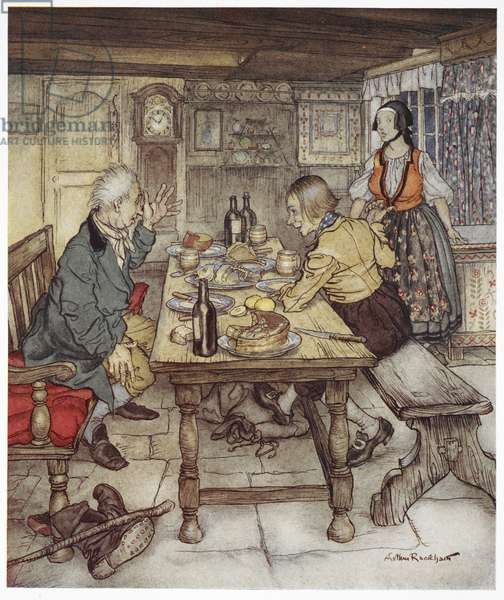 """""""He says you may go and open the chest in the corner and you will see the devil crouching inside it"""". A farmer and a man known as little Claus, sitting at a table, while the farmer's wife brings them food. Illustration for 'little Claus and big Claus'."""