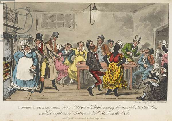 """Lowest Life in London: Tom, Jerry, and Logic among the Unsophisticated Sons and Daughters of Nature, at """"all max"""", in the east, 'Life in London, etc.', by Pierce Egan, 1823 (colour litho)"""