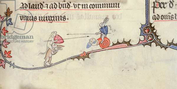 Yates Thompson 8 f.294 Hybrid man/snail ridden by a hare fighting a dog astride a hare (vellum)